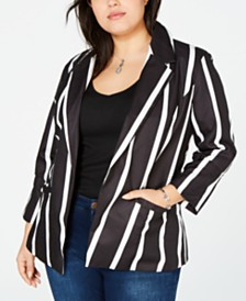 Say What? Trendy Plus Size Striped Blazer
