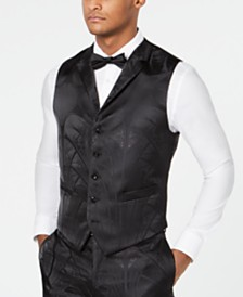 Tallia Men's Slim-Fit Metallic Tonal Jacquard Vest