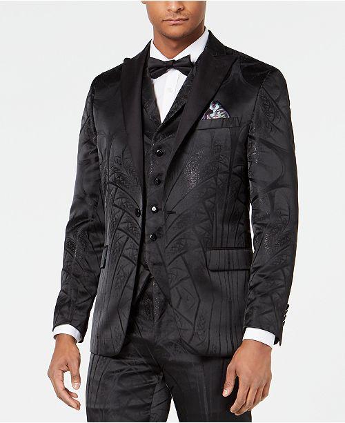 Tallia Men's Slim-Fit Metallic Tonal Jacquard Dinner Jacket