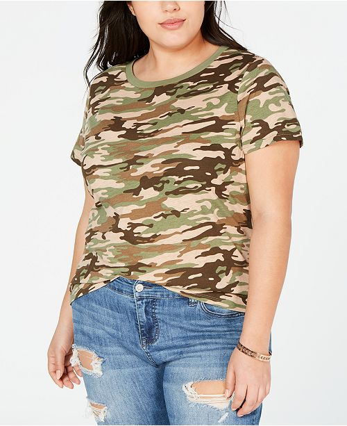 No Comment Trendy Plus Size Camo T-Shirt