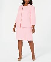 52894d2bde Kasper Plus Size Flyaway Jacket   Sleeveless Jewel-Neck Stretch Crepe Dress