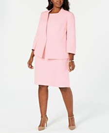 eae5c17642 Kasper Plus Size Flyaway Jacket   Sleeveless Jewel-Neck Stretch Crepe Dress