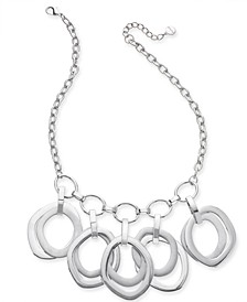 """Silver-Tone Multi-Ring Sculptural Statement Necklace, 17"""" + 2"""" extender, Created for Macy's"""