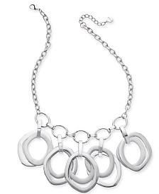 "Alfani Silver-Tone Multi-Ring Sculptural Statement Necklace, 17"" + 2"" extender, Created for Macy's"