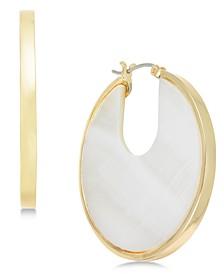 Gold-Tone Stone Hoop Earrings, Created for Macy's