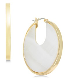 Alfani Gold-Tone Stone Hoop Earrings, Created for Macy's