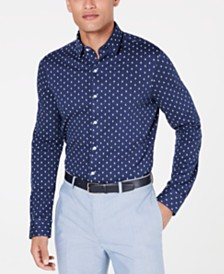 Bar III Men's Slim-Fit Stretch Floral Knit Dress Shirt, Created for Macy's