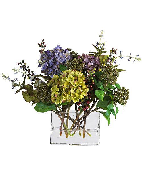 Nearly Natural Mixed Hydrangea w/Rectangle Vase Silk Flower Arrangement