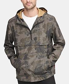 Men's Water-Resistant Palm-Print 1/2-Zip Jacket