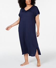 Charter Club Plus-Size Lace-Trimmed Soft Knit Nightgown, Created for Macy's