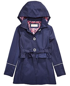 Michael Kors Big Girls Hooded Belted Trench Coat
