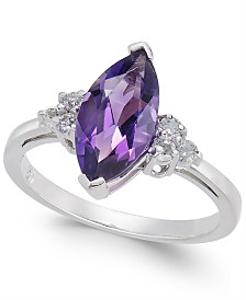 Amethyst (1-5/8 ct. t.w.) & Diamond (1/6 ct. t.w) Statement Ring in 14k White Gold