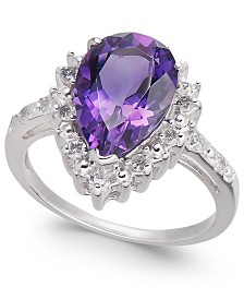 Amethyst (2-3/4 ct. t.w.) & Diamond (1/4 ct. t.w.) Ring in 14k White Gold