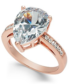 Charter Club Rose Gold-Tone Teardrop Crystal Ring, Created for Macy's