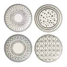 "ED Ellen DeGeneres Crafted by Royal Doulton Charcoal Grey 6"" Plates, Set of 4"