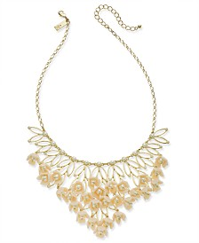 "I.N.C. Gold-Tone Imitation Pearl Flower Statement Necklace, 16"" + 3"" extender, Created for Macy's"