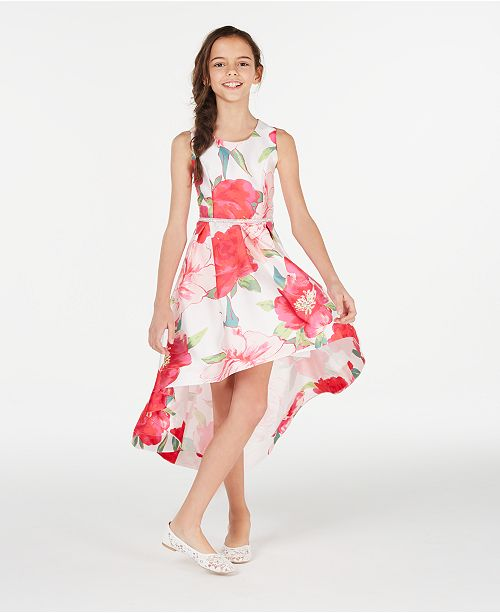 Speechless Big Girls Floral-Print High-Low Hem Dress