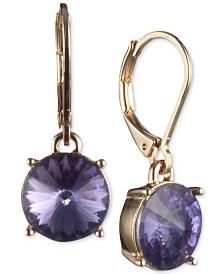 Anne Klein Gold-Tone Purple Crystal Small Drop Earrings