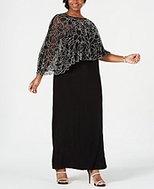 Plus Size Beaded Cape Gown