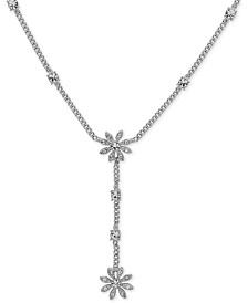 "Givenchy Crystal Flower Lariat Necklace, 16"" + 3"" extender"