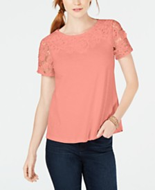 Charter Club Petite Cotton Embroidered T-Shirt, Created for Macy's