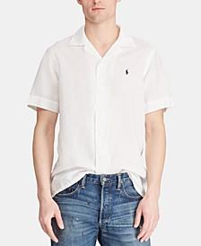 Men's Classic Fit Linen Blend Camp Collar Shirt