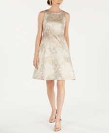 Calvin Klein Embellished Brocade A-Line Dress