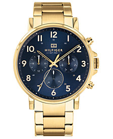 Tommy Hilfiger Men's Gold-Tone Bracelet Watch 44mm Created for Macy's