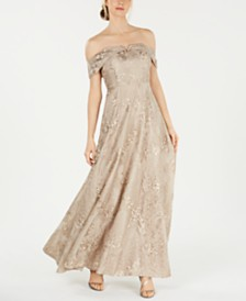 Calvin Klein Embroidered Off-The-Shoulder Gown