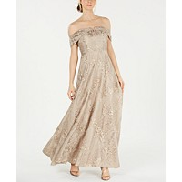 Deals on Calvin Klein Embroidered Off-The-Shoulder Gown