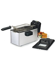 Elite Gourmet Stainless Steel 3.5 Quart Immersion Deep Fryer with Timer