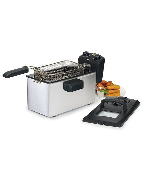 Elite by Maxi-Matic Elite Gourmet Stainless Steel 3.5 Quart Immersion Deep Fryer with Timer