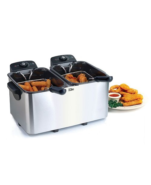 Elite by Maxi-Matic Elite Platinum Stainless Steel Dual Deep Fryer
