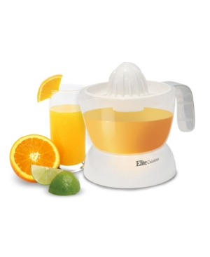 The Elite cuisine citrus juicer makes perfectly squeezed citrus juice by way of its pulp and seed strainer, making 2 cups of juice with just the right amount of pulp, without the seeds. Easy disassembly and cleaning makes this juicer a no fuss, no mess performer and operates at a conservative 30 watts.