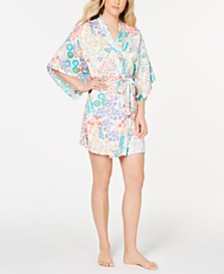 Josie By Natori Lotus Boutique Washed Satin Wrap Robe