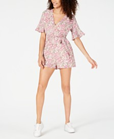 Maison Jules Floral-Print Belted Surplice Romper, Created for Macy's