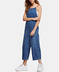 Free People Joyride Cropped Denim Jumpsuit