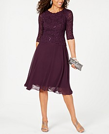 Sequined Lace Contrast Dress