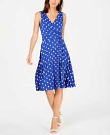 Jessica Howard Petite Polka Dot Faux-Wrap Dress