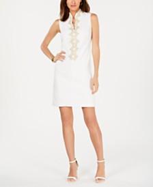 Jessica Howard Petite Embroidered-Trim Dress