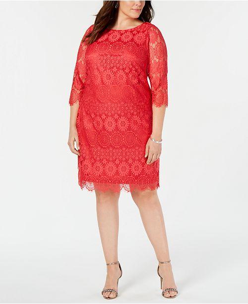 Jessica Howard Plus Size 3/4-Sleeve Lace Dress