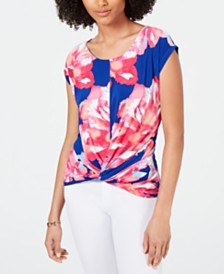 I.N.C. Printed Twist-Front T-Shirt, Created for Macy's
