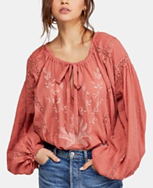 Free People Maria Maria Crochet Embroidered Blouse