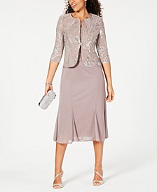 Sequined A-Line Midi Dress and Jacket, Regular & Petite Sizes