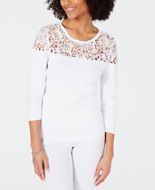 I.N.C. Studded Lace-Trim Sweater, Created for Macy's
