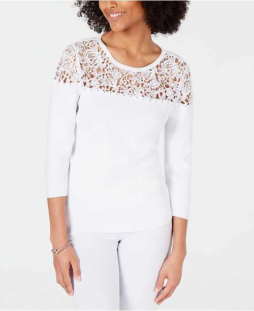 INC International Concepts I.N.C. Studded Lace-Trim Sweater, Created for Macy's