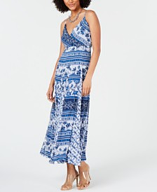 I.N.C. Printed Pleated Maxi Dress, Created for Macy's
