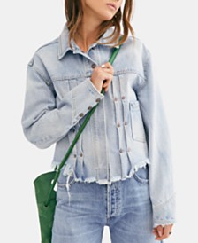 Free People Dillon Cotton Distressed Cropped Denim Jacket