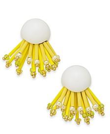 Gold-Tone Glass Bead Statement Stud Earrings