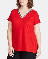 c914c81ca721a Lauren Ralph Lauren Plus Size Striped-Trim T-Shirt